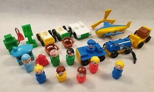 Vintage-Fisher-Price-Little-People-Bundle-23-Items-Figure-Cars-Helicopter-Petrol