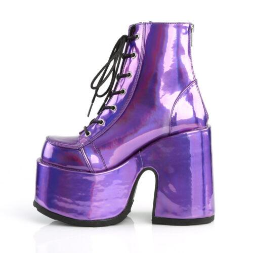 203 bottes bottines punk rock goth compensées lacets bottes compensées Demonia femme camel