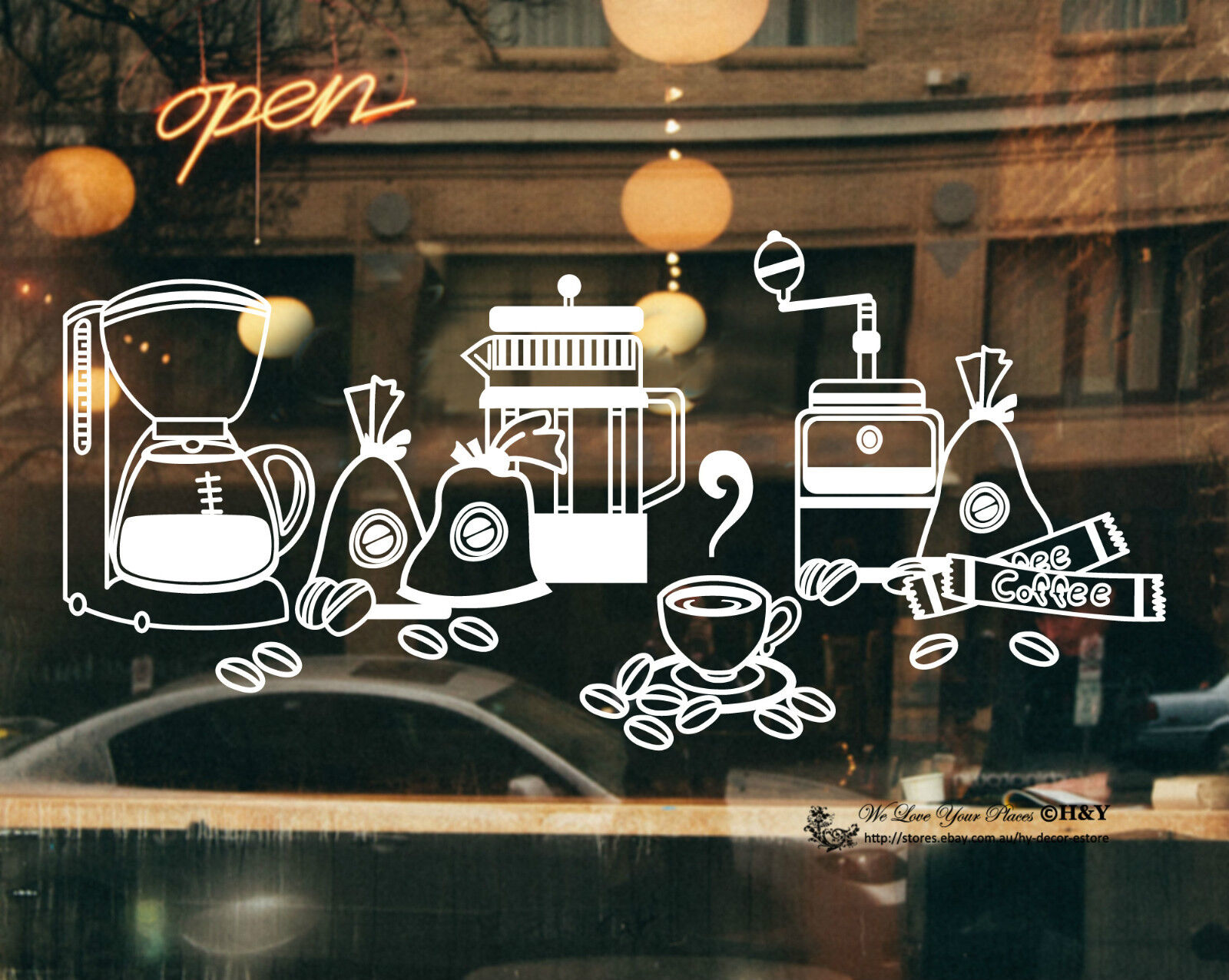 Cake Coffee Cafe Shop Beans Pot Window Sign Vinyl Stickers