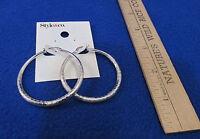 Style & Co Hoop Pierced Earrings Large Textured Design Silver Tone Metal