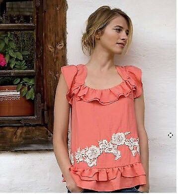 Anthropologie sweetest Blouse Top beautiful coral and lace applique new 6