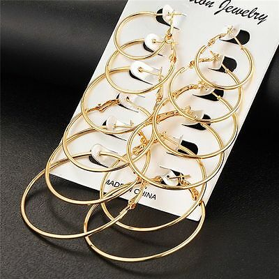 6Pairs/set Gold Silver Vintage Big Circle Hoop Earrings Women Steampunk Ear Clip