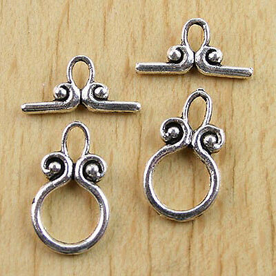 18sets Tibetan silver smooth Toggle Clasps h0625