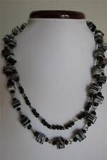 "Vintage Style Swirl Cube White Brown Glass Bead 40"" Long Necklace"
