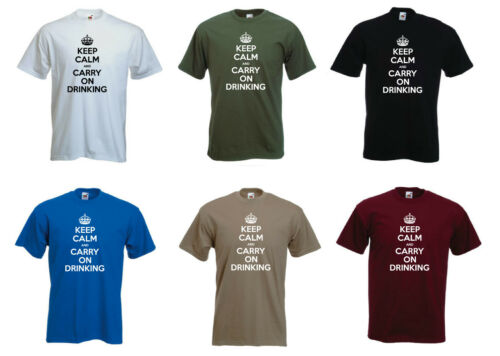 "S-XXL gracioso para hombres Camiseta /""Keep Calm and Carry on beber/"""