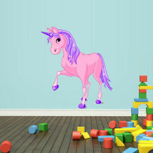 Full Color Wall Decals Vinyl Sticker Cartoon Pink Unicorn Magic Horse(col139)