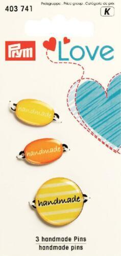 3  Handmade-Labels von Prym 403 741  Gelb-Orange