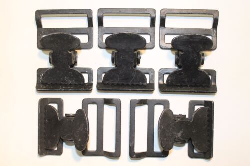 """Military Web Strap T Buckle Mil-Spec 1 1//2/"""" Spring Loaded Lot of 5 Black"""