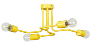 Yellow-4-Ceiling-Lights-Flush-Matt-Metal-Fitting-Bulb-Industrial-DIESEL-New