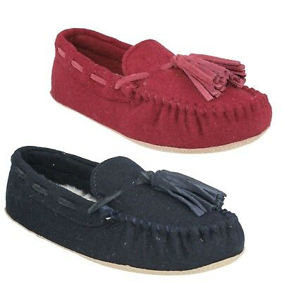 Da Donna Pantofole Mocassino tradizionali tradizionali in Pelliccia Sintetica Blu Slip On Calzature