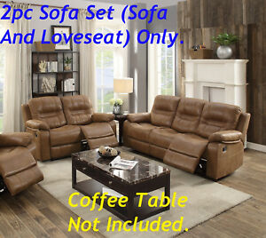 Contemporary 2pc Sofa Set Motion Reclining Relax Couch Loveseat Dark