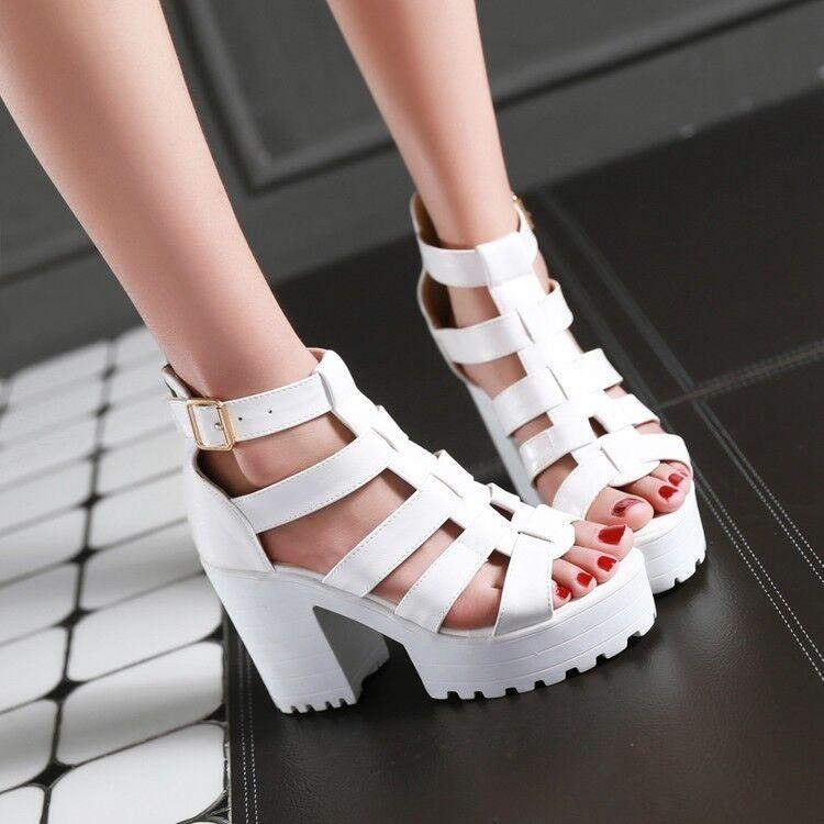 Women Open toe High Block Heel Summer shoes Roman Punk Club Platform Sandals