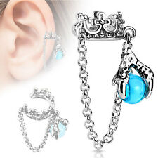 CROWN & CHAIN WITH DRAGON HAND BALL DANGLE NON PIERCING FAKE EAR CARTILAGE CUFF