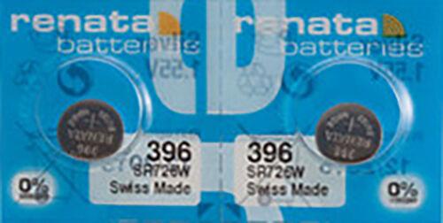 2 x Renata 396 Watch Batteries, 0% MERCURY equivalent SR756W, Swiss Made