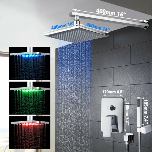 12/'/'  LED Temperature Chrome Rainfall Shower Head Handheld Faucet Set Wall Mount