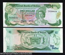 BELIZE $1 1983 P43 BIRD LIZARD QUEEN UNC CARIBBEAN CURRENCY MONEY BILL BANK NOTE