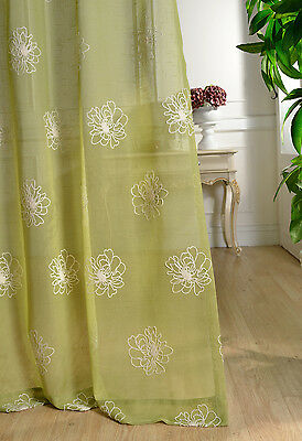 Country White Flowers Floral Embroidered Green Sheer Voile Curtain Net Panel
