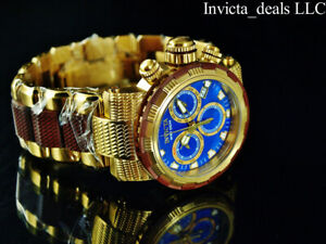 Invicta-Mens-46mm-CAPSULE-Swiss-Chronograph-Blue-Dial-Gold-amp-Brown-Tone-SS-Watch