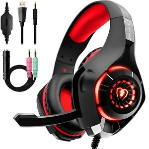 Casque-Gaming-Gamer-PC-PS4-Xbox-One-S-Micro-Pro-Anti-Bruit-LED-Rouge-Stereo-Jeux