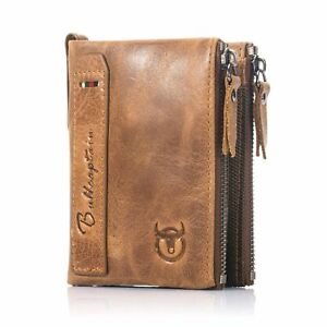 Mens-Luxurious-100-Genuine-RFID-Bifold-Leather-Wallet-With-Zip-Cash-Coin-Pocket
