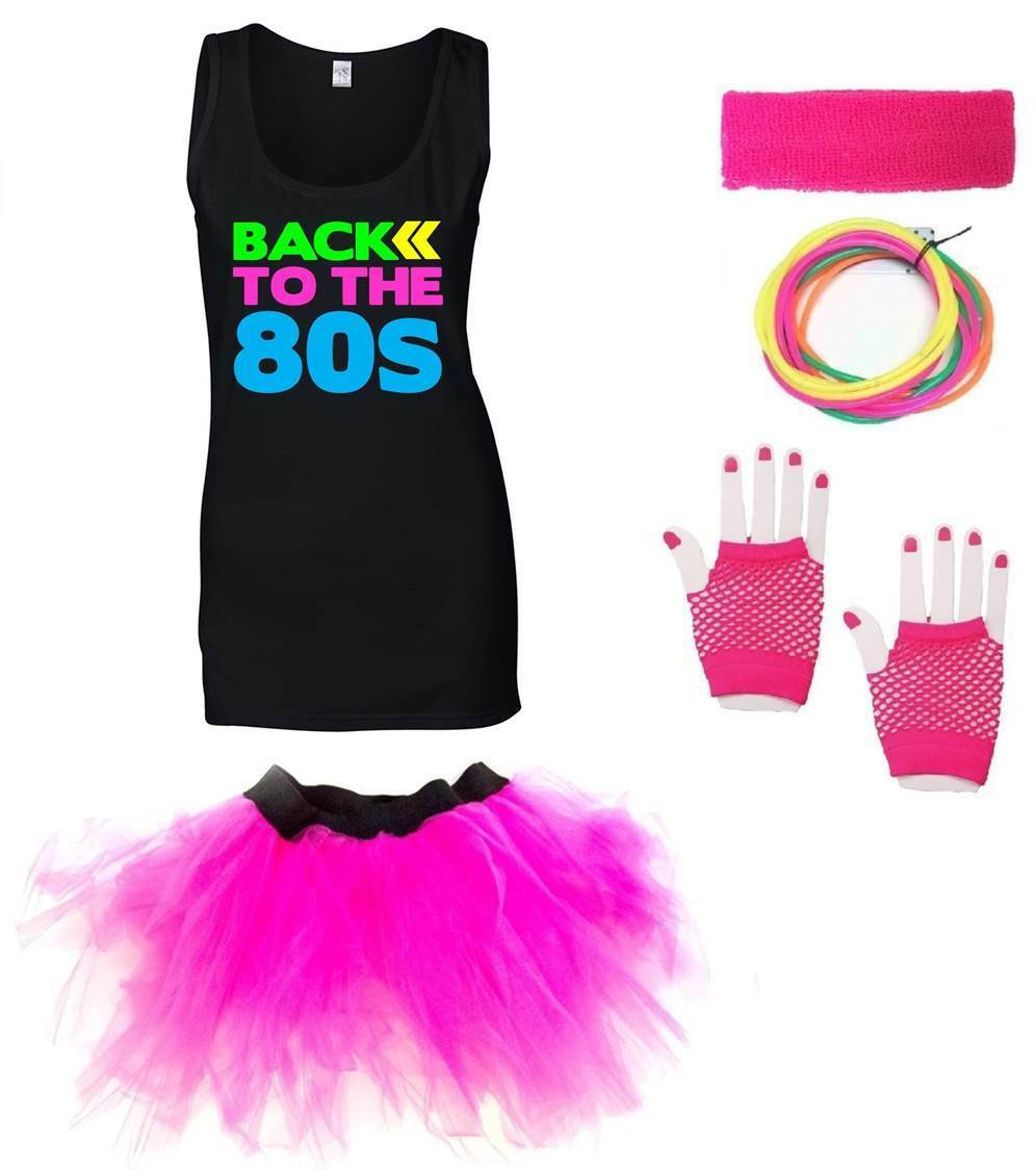 BACK TO THE 80s Ladies Vest Outfit Fancy Dress Costume Neon Tutu 80/'s Gloves