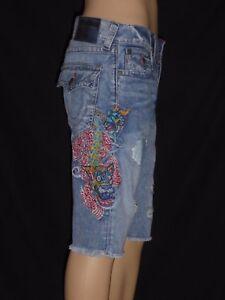 bb932dd17  189 Ricky Dragon Embroidery True Religion Men Shorts Cut Off 31 32 ...