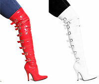 LADIES WOMENS OVER THE KNEE THIGH HIGH STILETTO HEEL STRETCH BOOTS SHOES SIZE
