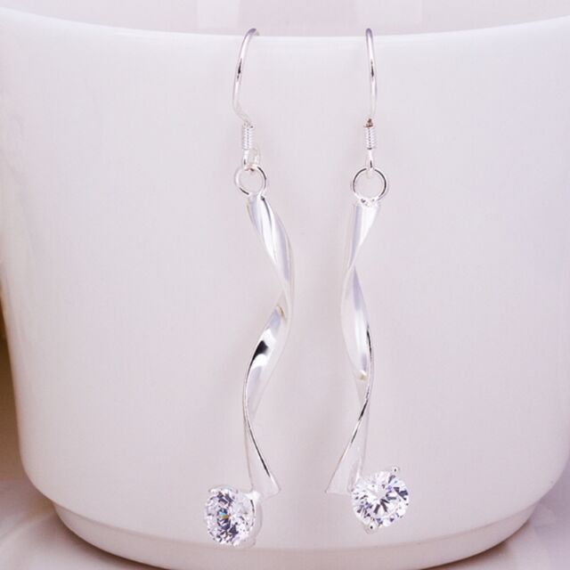 New Women 925 Sterling Silver Plated Twist Dangle Studs Crystal Earrings Jewelry