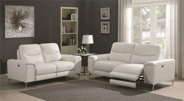 Coaster Furniture Largo White Power Reclining Leather Sofa and Loveseat
