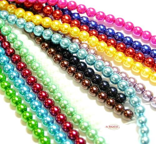 Verre Perles rundperlen Czech Beads Ø 6 mm en 13 couleurs 1 Strang á 25 pcs.