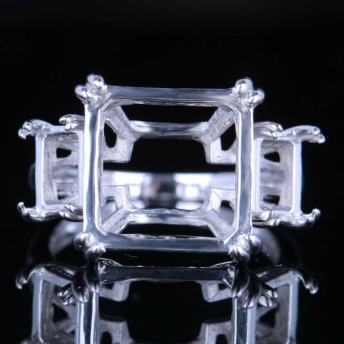 13x13mm /& 7x5mm Cushion Setting Engagement Semi Mount Ring Solid 10K White Gold