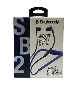Skullcandy Smokin  Buds 2 Wireless Earbuds w  In-Line Mic Royal Blue ... dabd90093b032
