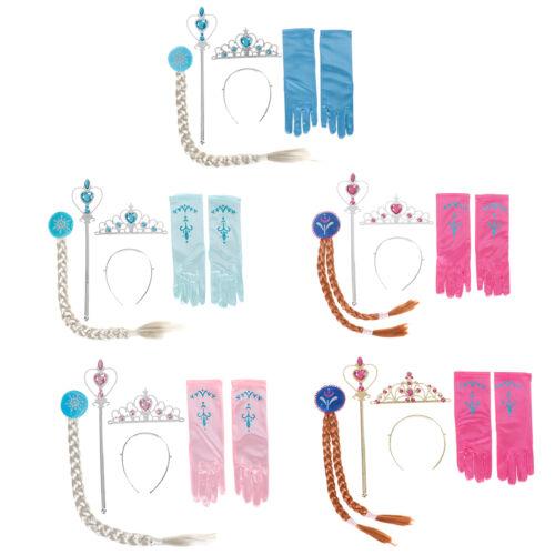 Kids Girls Childrens Frozen Anna Elsa Tiara 4X set Crown Wig Wands Gloves HKBWSF