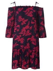 10dde0ad52 Dorothy Perkins Floral Tie Strap Bardot Dress Size UK 10 LF182 HH 01 ...