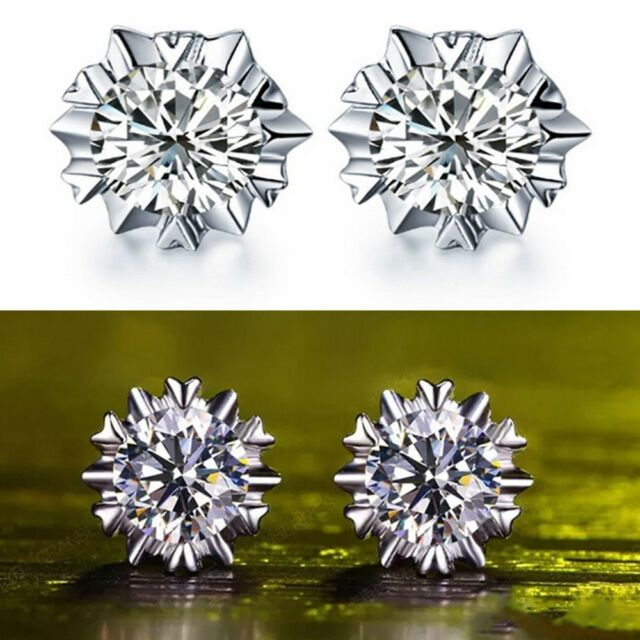Snowflake Silver Plated Rhinestone Stud Chic Earrings Jewelry Zircon Women