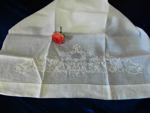 *atheliercortez*prezioso Asciugamano In Purissimo Lino Ricamato A Mano Bianco-50
