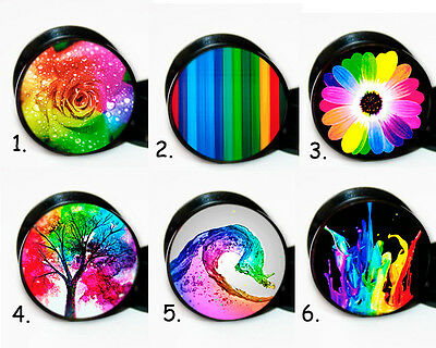 Select 1 pair Rainbow ear gauges tunnel screw back plugs