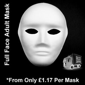 Face-Masks-Plain-White-Full-Face-Adult-Masquerade-To-Paint-Decorate