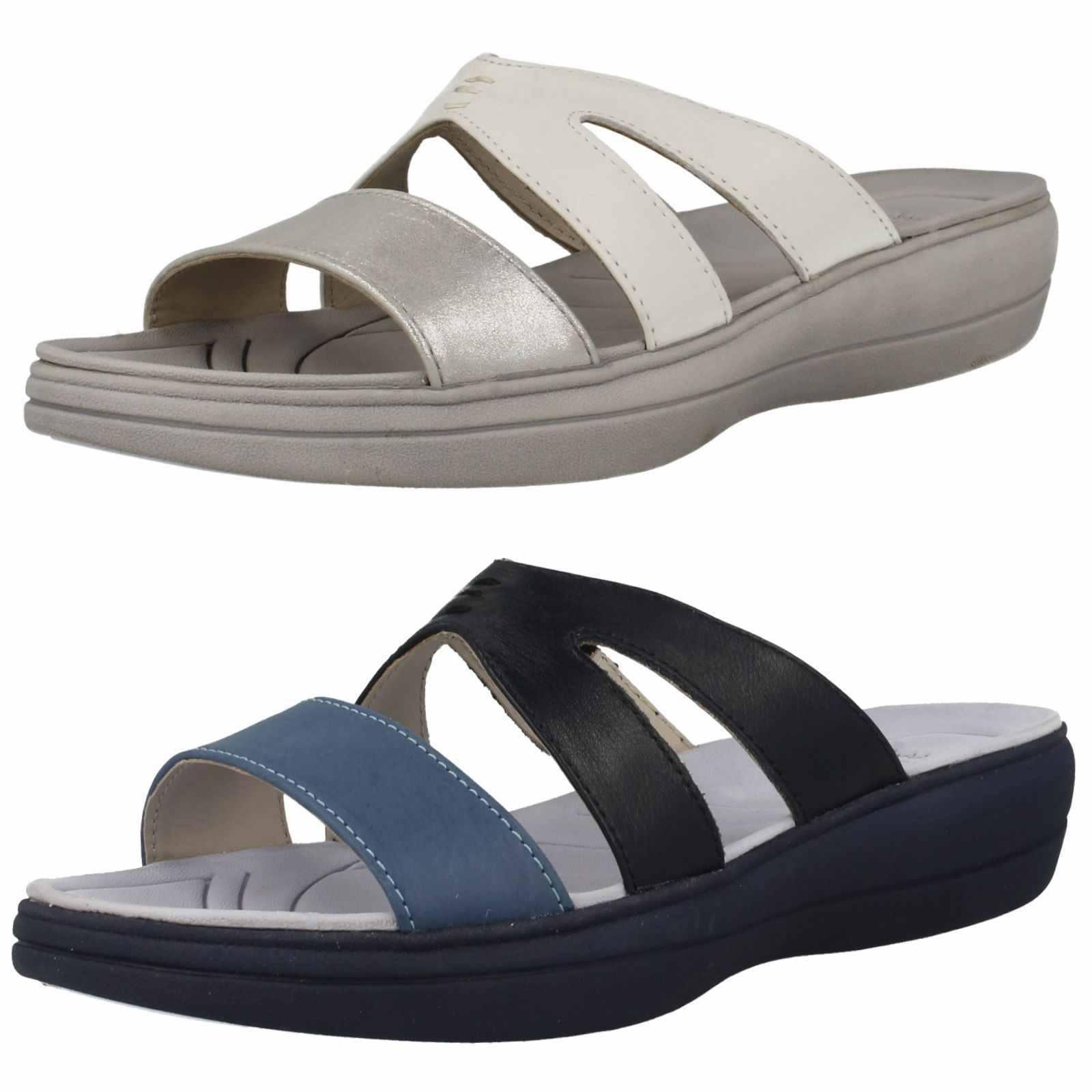 Casual salvaje Descuento por tiempo limitado Padders Charlie Ladies Slip On Leather Sandals in White/Silver or Blue Combi