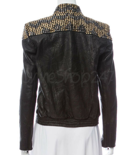 Studded Brando Philip Leather Jacket Gold Plein Black Punk Spiked Silver Women 1qHa1BC