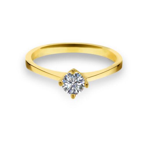 585 Gold Verlobungsring Antragsring Solitär Frauen Ring Zirkonia Brillant VJC01