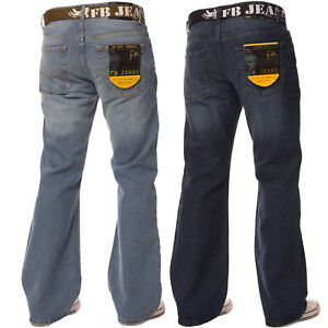 Mens-Bootcut-Loose-Fit-Dark-Blue-Wide-Flare-Leg-Distressed-Denim-Jeans-Big-Sizes