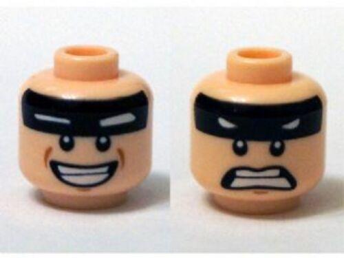 Scared LEGO Smile Minifig Head Black Stripe on Forehead w// White Eyes
