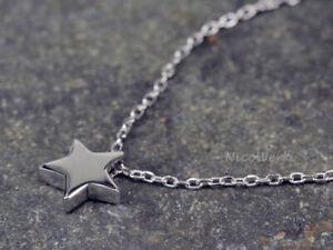 Silberkette-mit-Anhaenger-Stern-Glatt-Halskette-Damen-925-Silber-Kette-Schmuck