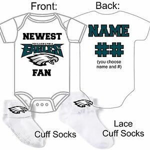info for 10b61 cc4cd Details about PERSONALIZED NEWEST PHILADELPHIA EAGLES FAN BABY GERBER  ONESIE SOCKS HAT GIFT!