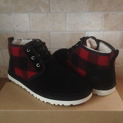 Ugg Neumel Plaid Redwood Black Woolrich Suede Chukka Boots