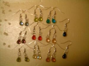 Wholesale-10-Pairs-Beautiful-Czech-Teardrop-Glass-Girl-Earrings-Silver-P-Jewelry