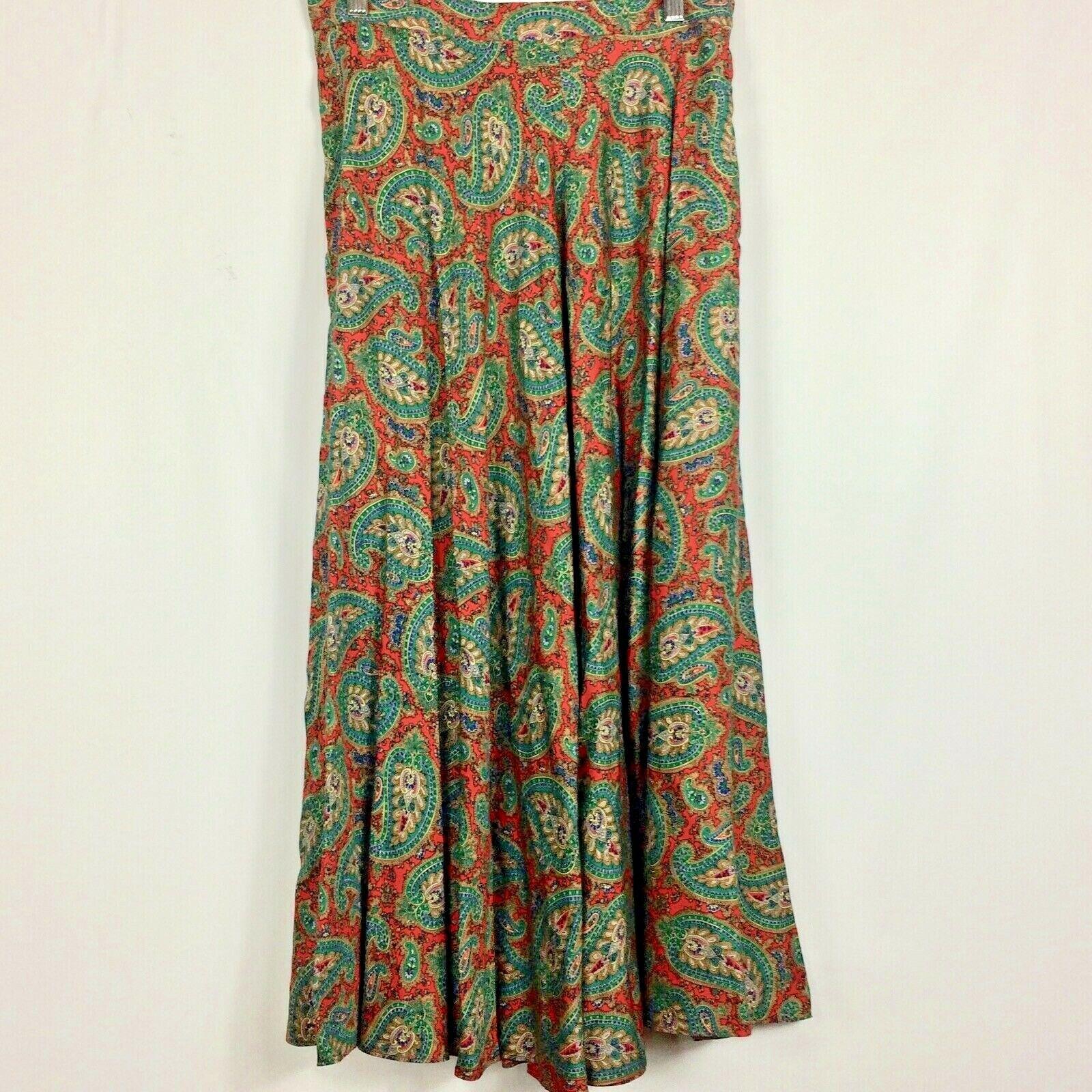 Ralph Lauren Maxi Skirt Red Green Paisley Print R… - image 5