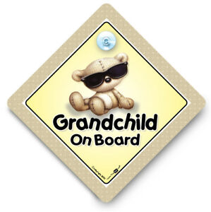 GRANDCHILD-On-Board-Car-Sign-SUNGLASSES-Baby-On-Board-Sign-Suction-Cup-Sign