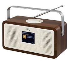 "JVC RA-DS77 PORTABLE DAB+ FM CLOCK RADIO WOOD & CREAM FINISH 3.2"" LCD DISPLAY"